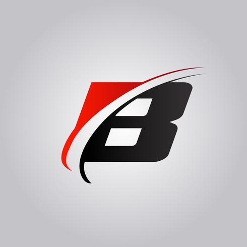 Logotipo inicial de la letra B con swoosh de color rojo y negro. vector