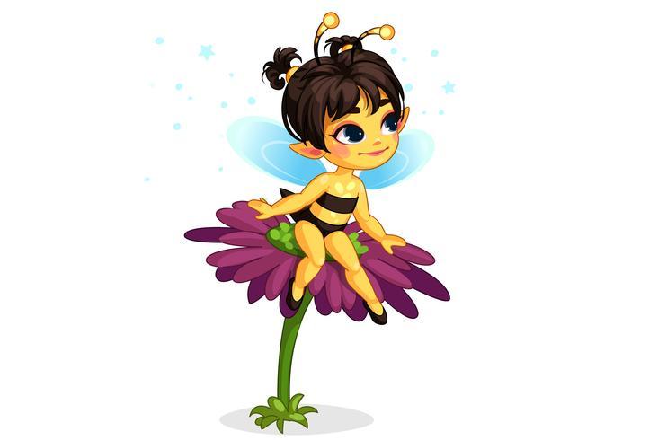 Hada de abeja hermosa miel sentado en la flor
