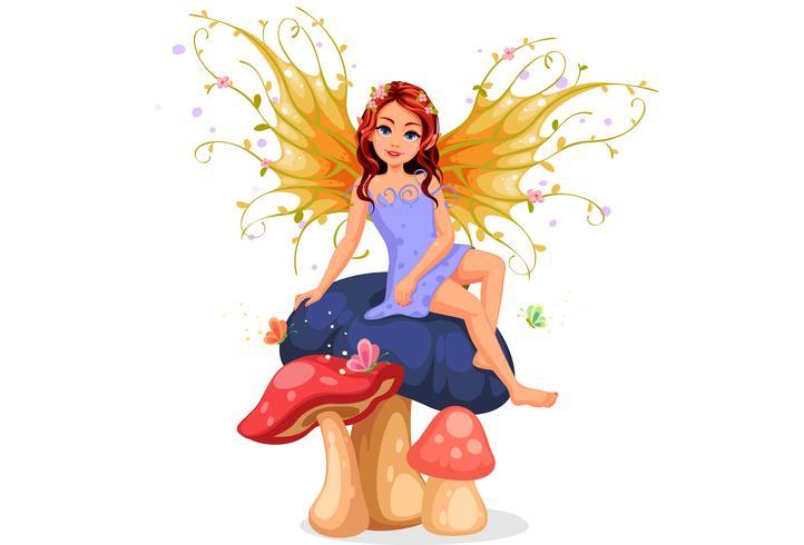 Beautiful nature fairy sitting vector
