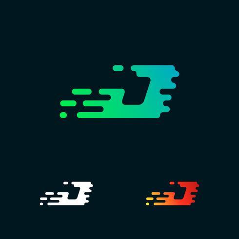 letter J modern speed shapes logo design vector