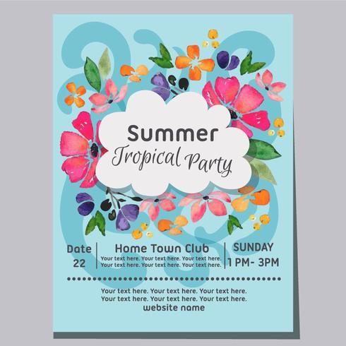 Cartel de acuarela de fondo de playa de fiesta tropical de verano