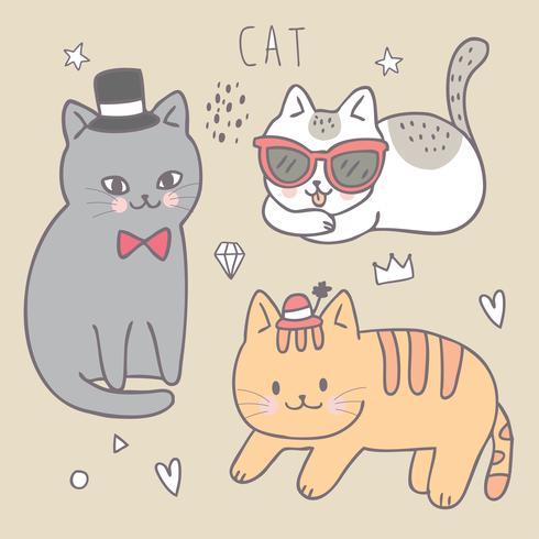Tecknad söt mode katt vektor.