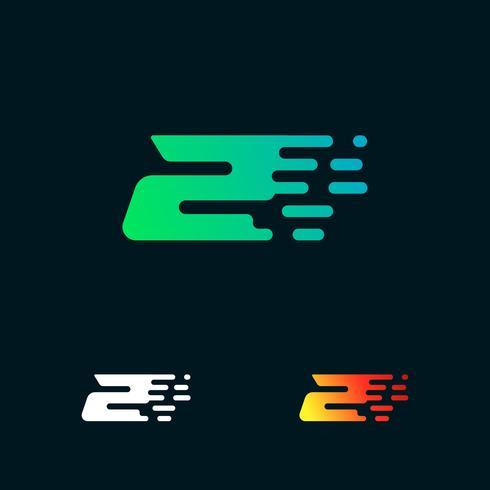Número 2 velocidad moderna formas vector logo diseño