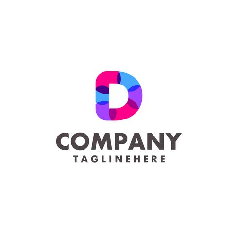 abstract colorful letter D logo design for business company with modern neon color vector