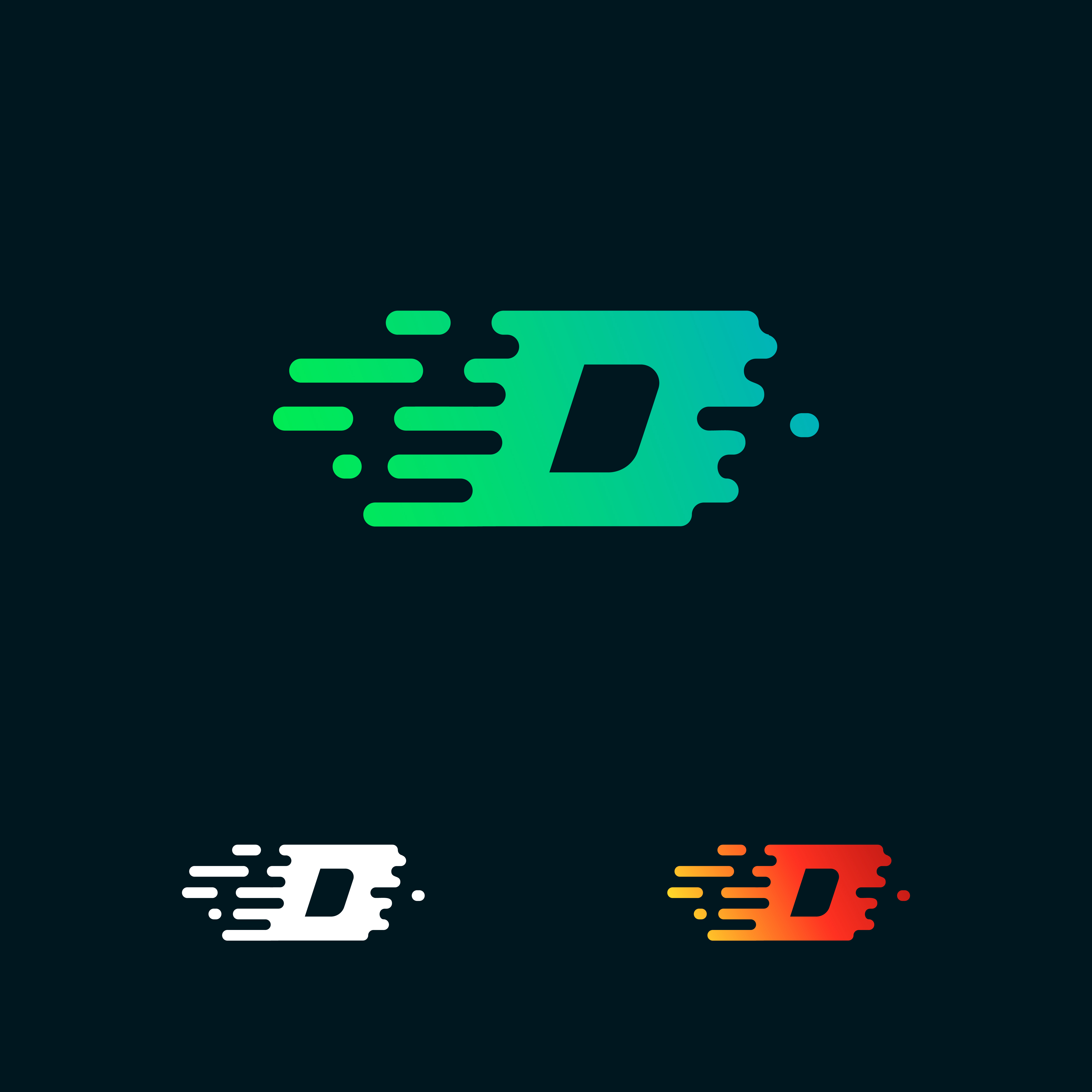Letter D Modern Speed Shapes Logo Design Vector