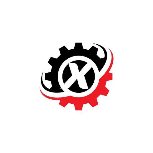 Plantilla de diseño de logotipo letra X engranaje vector