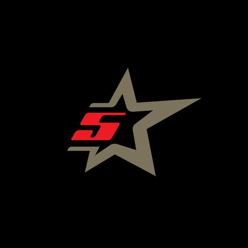 Number 5 logo template with Star design element.