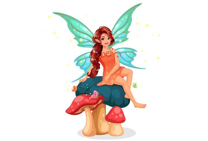 Cute little fairy sitting on mushroom vector