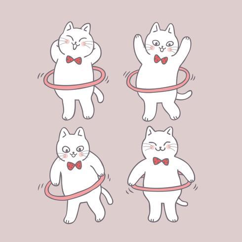 Gato lindo de la historieta que juega vector del aro del hula.