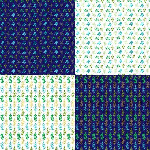 patrones de hoja de vector transparente con azul y blanco