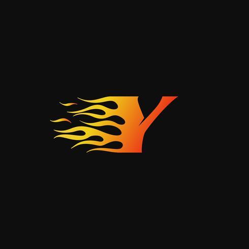 Plantilla de diseño de logotipo de letra Y llama ardiente