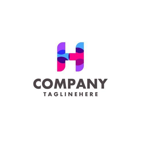 Diseño de logotipo abstracto colorido letra H para empresa de negocios con moderno color neón