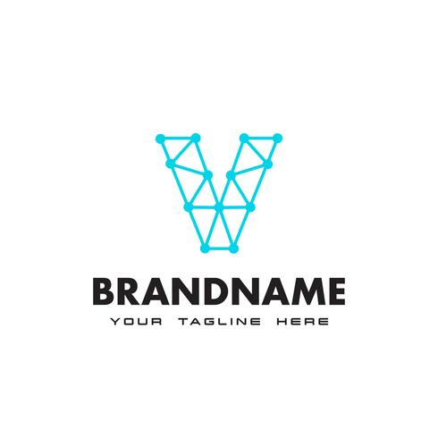 Letter V dot nätverksanslutning logotyp Design Mall