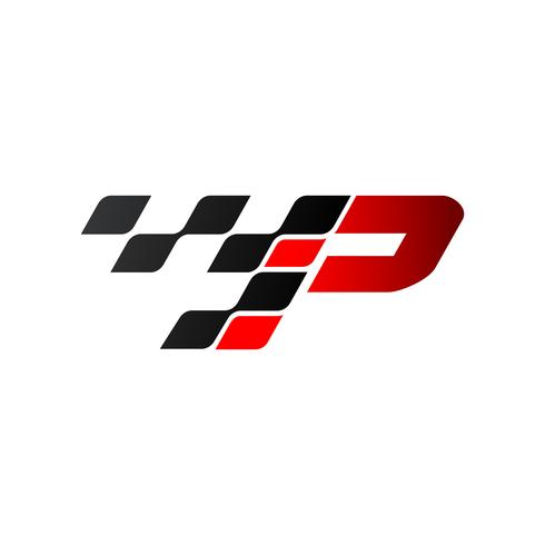 Letter P with racing flag logo