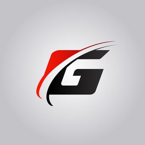 Logotipo inicial de la letra G con swoosh de color rojo y negro vector