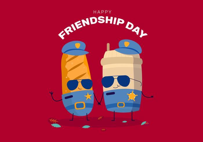 Divertido personaje de comida celebra el día de la amistad vector