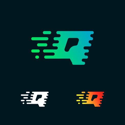lettera Q moderna velocità forme logo design vettoriale