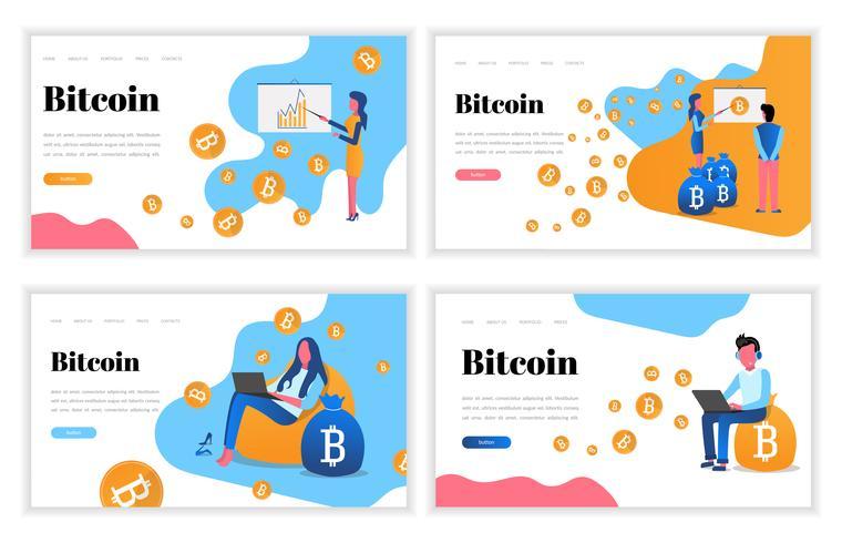 Conjunto de plantillas de diseño de páginas web. Conceptos de ilustración de vector plano moderno para sitio web y aterrizaje. Moneda crypto, bitcoin, monedas y gráficos. Minería y blockchain