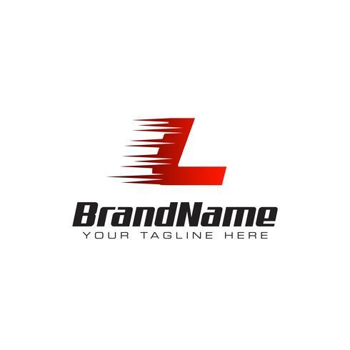 Plantilla de diseño de logotipo letra inicial L velocidad