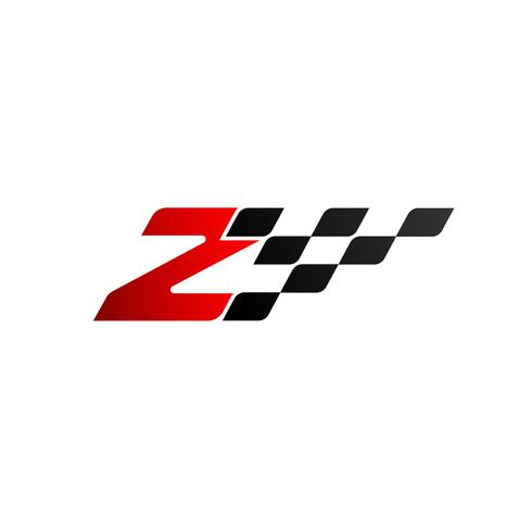 Letter Z with racing flag logo vector