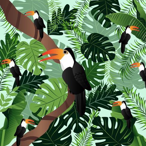 Palmier tropical bannière été feuilles image vectorielle d'oiseaux.
