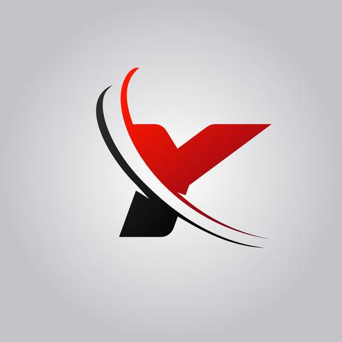 initial Y Letter logo with swoosh colored red and black vector