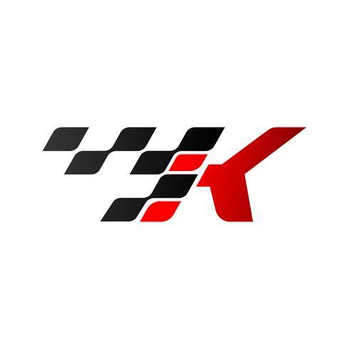 Letra K com logotipo de bandeira de corrida