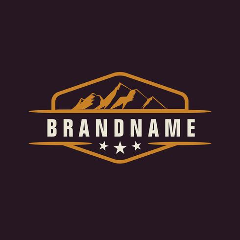 Mountain Design Element in Vintage Style for Logotype, Label, Ba