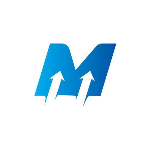 letter M with Arrow logo Design Template