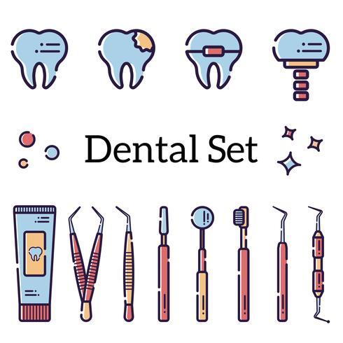 Set d'instruments dentaires plats vecteur