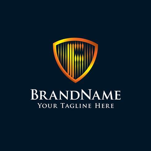 lettre initiale logo F bouclier avec couleur or vecteur
