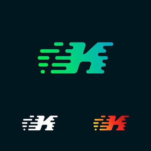 lettera K moderna velocità forme logo design vettoriale