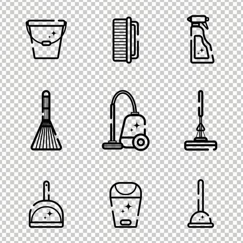 Vector conjunto de iconos planos para herramientas de limpieza