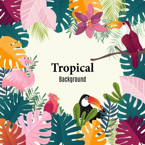 Palmier tropical bannière été feuilles image vectorielle d'oiseaux. vecteur