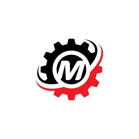 Brev M Gear Logo Design Mall vektor