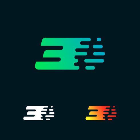 Vetor de design de logotipo de formas modernas de velocidade número 3