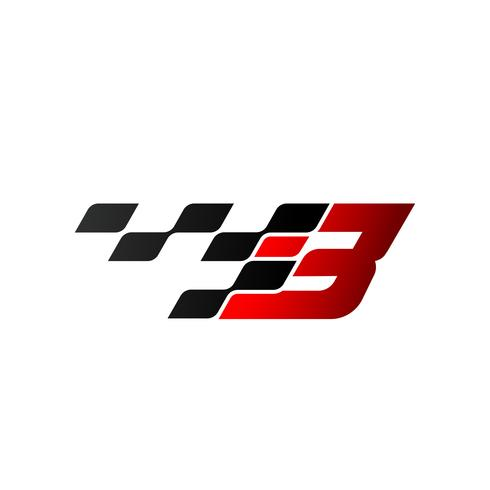 Letter B with racing flag logo vector