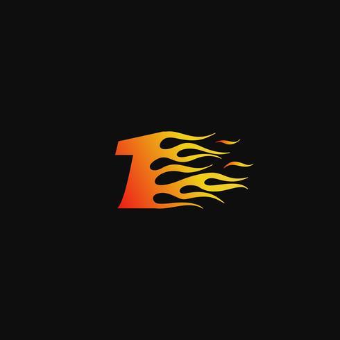 Number 1 Burning flame logo design template