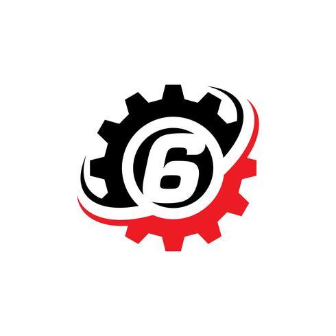 Number 6 Gear Logo Design Template vector