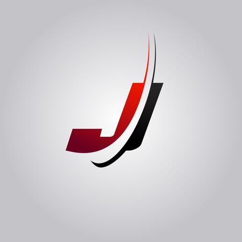 logo iniziale J Letter con swoosh colorato di rosso e nero vettore
