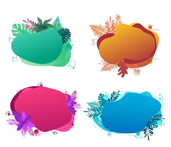 Ontwerpsjabloon voor spandoek, met vloeibare abstracte geometrische zeepbel met tropische bloemen.