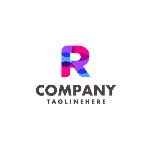 abstract colorful letter R logo design for business company