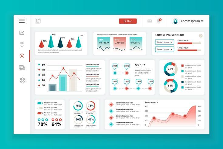 Dashboard admin panel vektor design mall med infographic element, diagram, diagram, info grafik. Webbsida dashboard för ui och ux design webbsida. Vektor illustration.