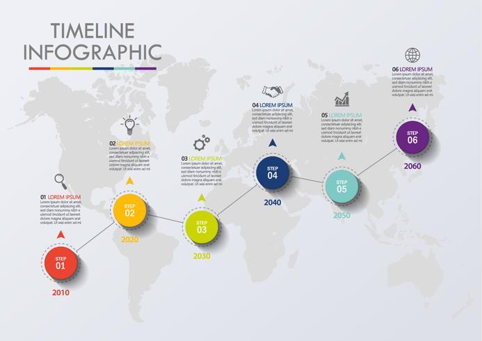 Visualisatie van bedrijfsgegevens. tijdlijn infographic pictogrammen ontworpen voor abstracte achtergrond sjabloon vector