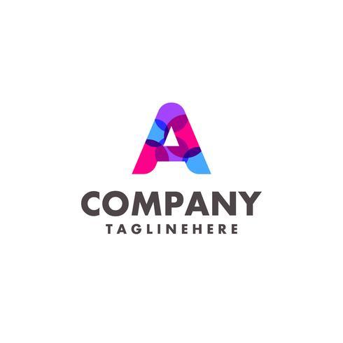 carta colorida abstrata Um design de logotipo para empresa de negócios com cor neon moderna