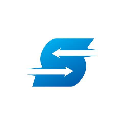 letra S com modelo de Design de logotipo de seta