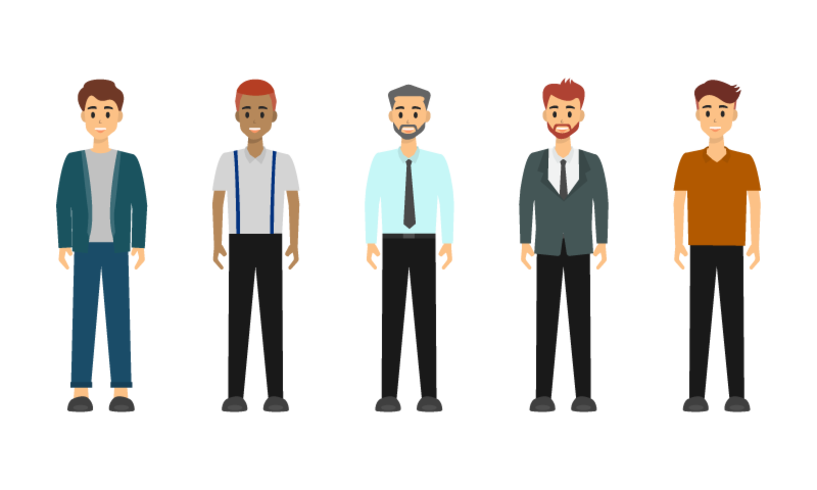 Group of Businessman character design. vector