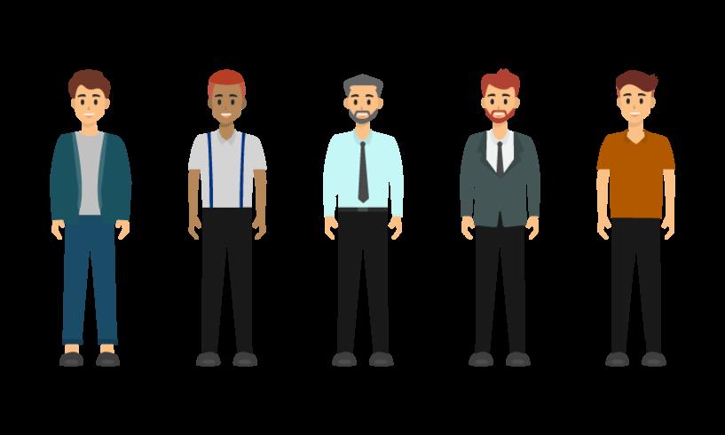 Grupo de design de personagens do empresário.