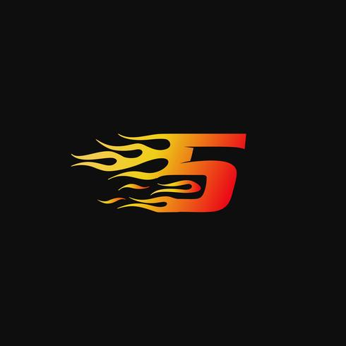 Numéro 5 Modèle de conception de logo de flamme brûlante