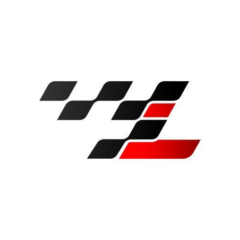 Letra L com logotipo de bandeira de corrida vetor